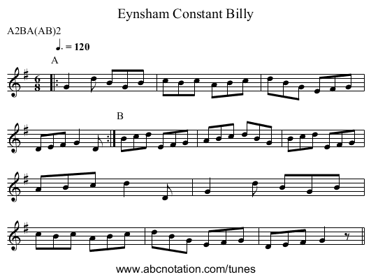 Constant Billy, Eynsham - staff notation