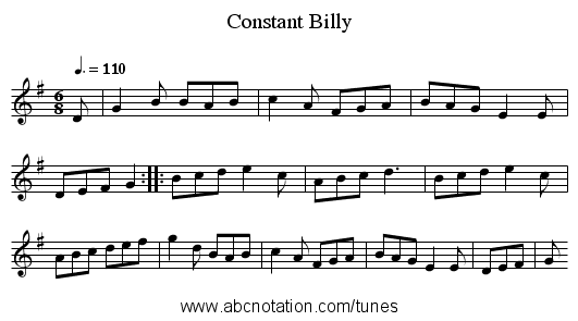 Constant Billy - staff notation