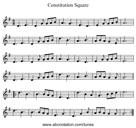 Constitution Square - staff notation