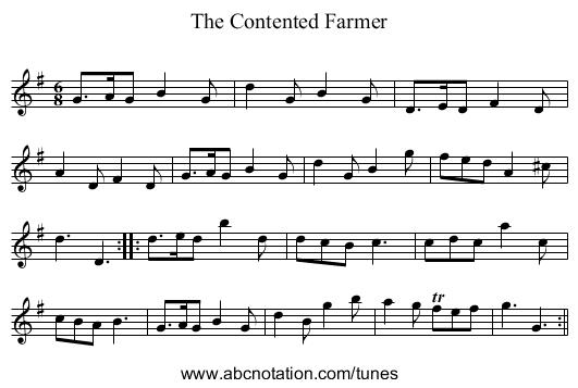 Contented Farmer, The - staff notation