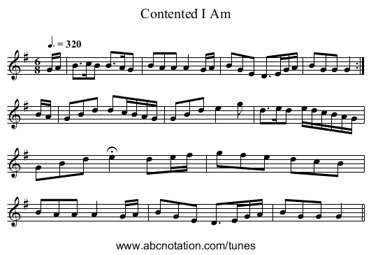 Contented I Am - staff notation