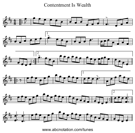 Contentment Is Wealth - staff notation