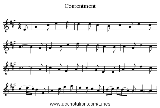 Contentment - staff notation