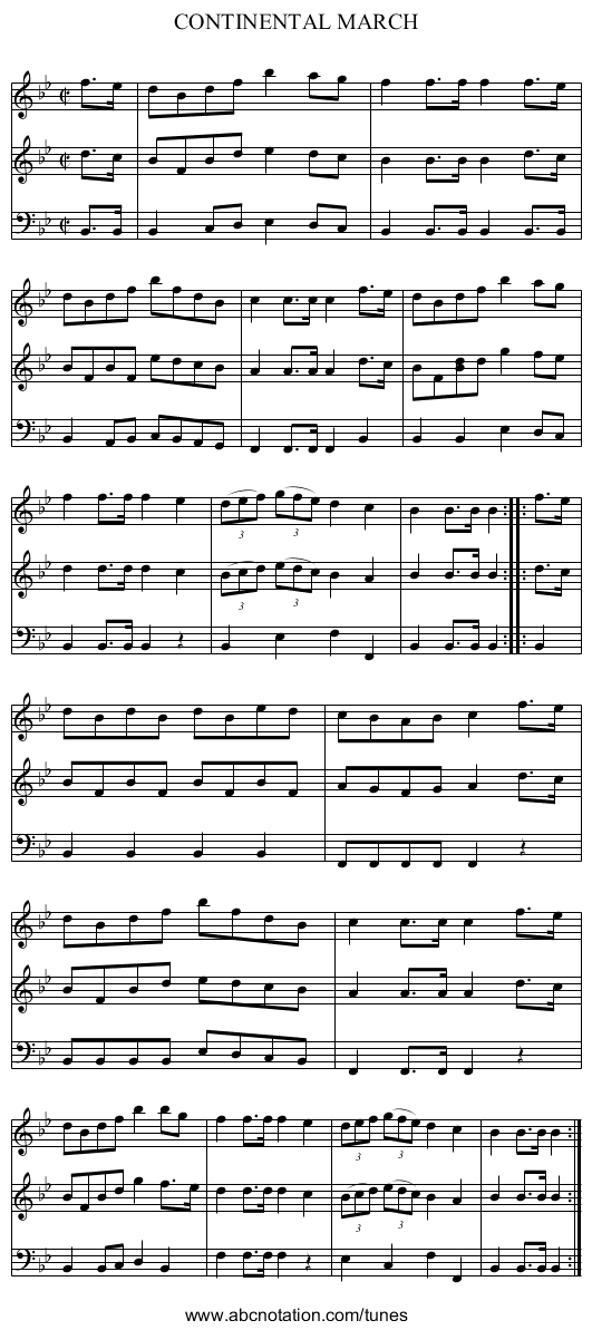 CONTINENTAL MARCH - staff notation