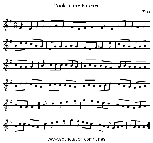 Cook in the Kitchen - staff notation