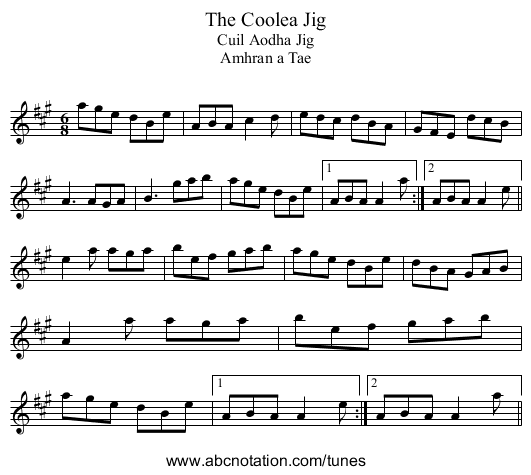 Coolea Jig, The - staff notation