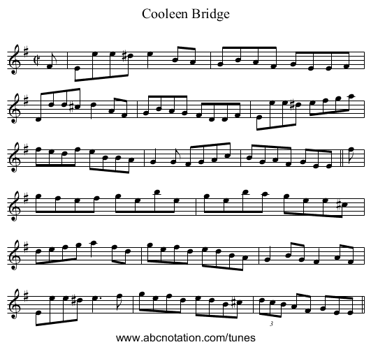 Cooleen Bridge - staff notation