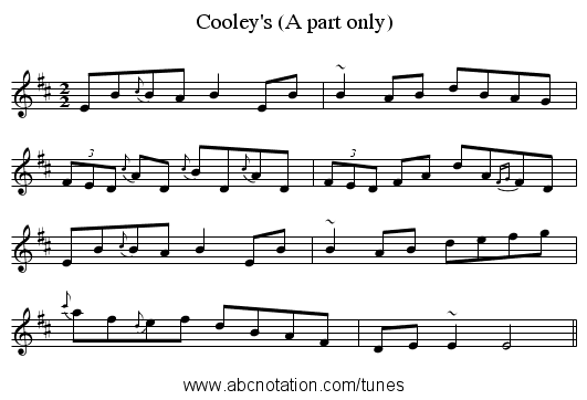 Cooley's (A part only) - staff notation