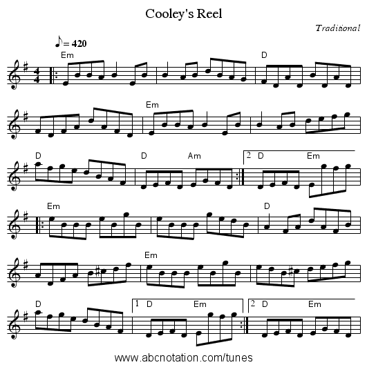 Cooley's Reel - staff notation