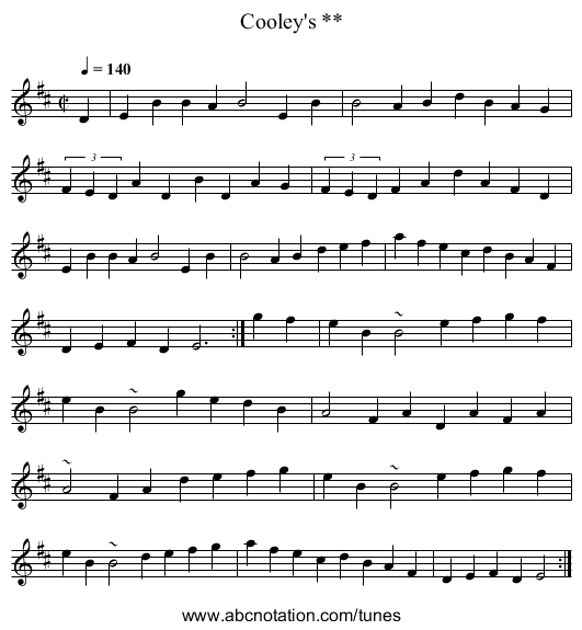 Cooley's ** - staff notation