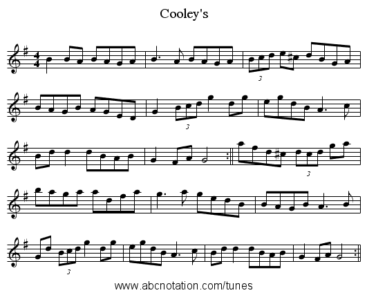 Cooley's - staff notation