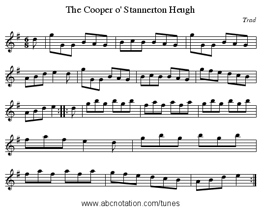 Cooper o' Stannerton Heugh, The - staff notation