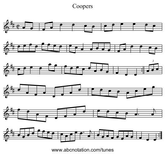 Coopers - staff notation