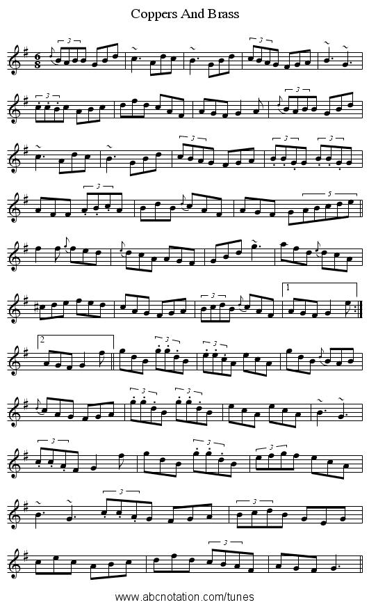Coppers And Brass - staff notation