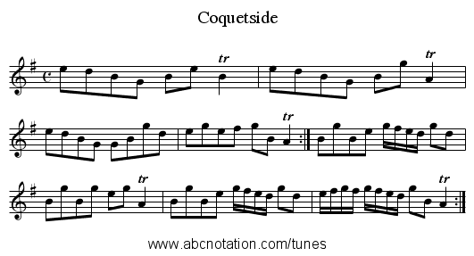 Coquetside - staff notation