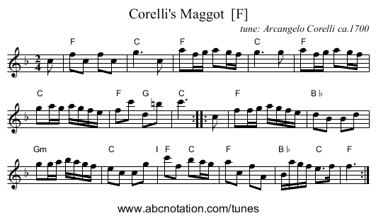 Corelli's Maggot  [F] - staff notation