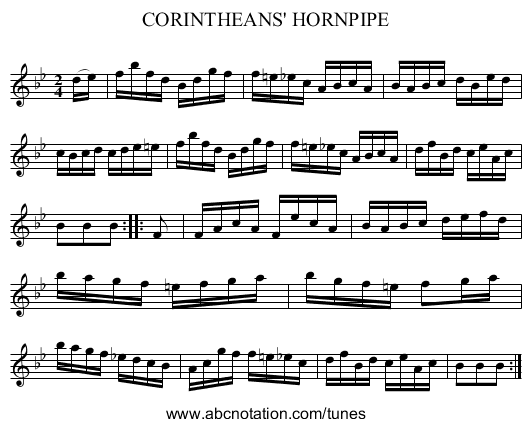 CORINTHEANS' HORNPIPE - staff notation