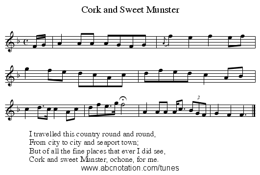 Cork and Sweet Munster - staff notation