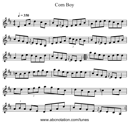 Corn Boy - staff notation