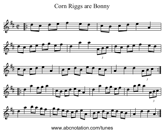 Corn Riggs are Bonny - staff notation