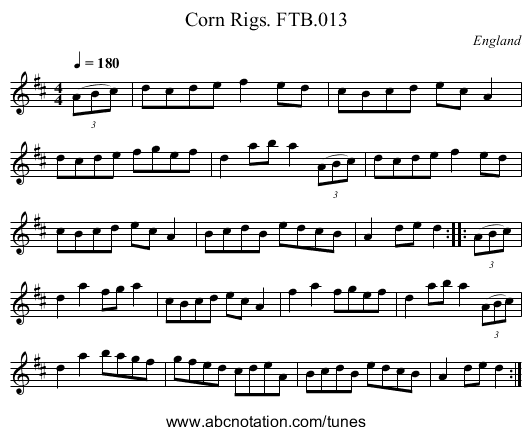 Corn Rigs. FTB.013 - staff notation