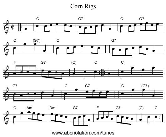 Corn Rigs - staff notation