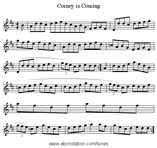 Corney is Coming - staff notation