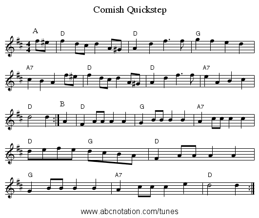 Cornish Quickstep - staff notation