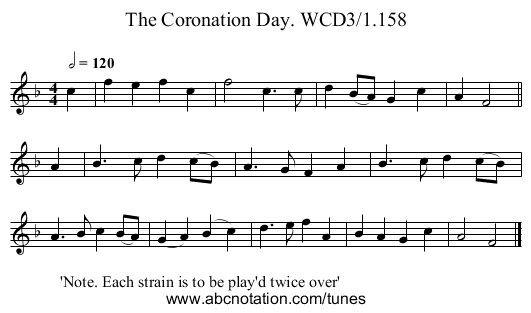 Coronation Day. WCD3/1.158, The - staff notation