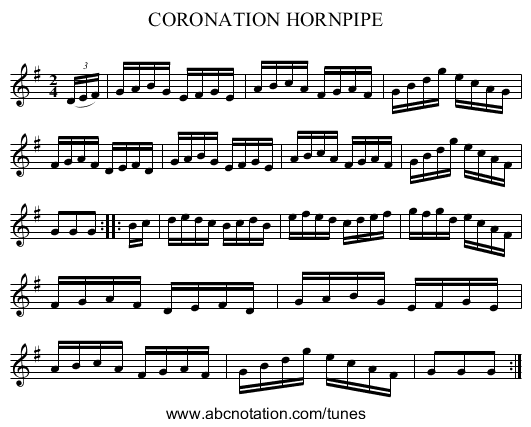 CORONATION HORNPIPE - staff notation