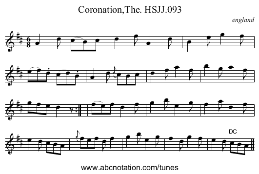 Coronation,The. HSJJ.093 - staff notation