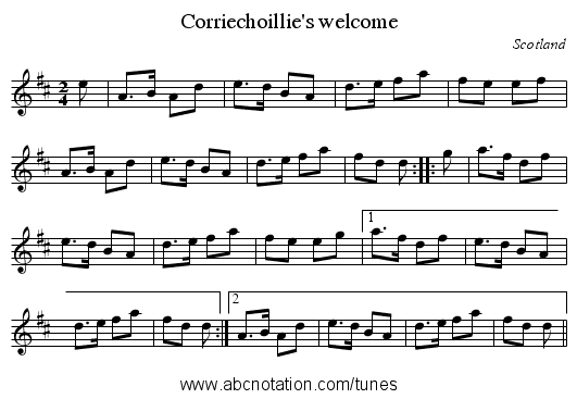 Corriechoillie's welcome - staff notation
