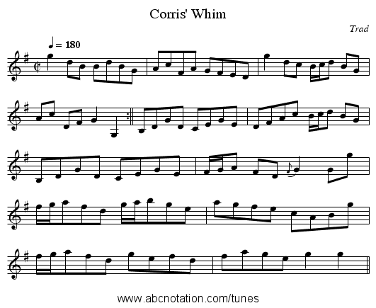 Corris' Whim - staff notation