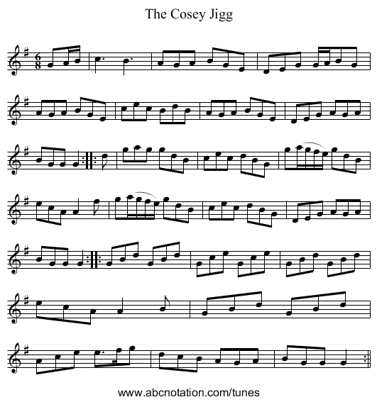 Cosey Jigg, The - staff notation
