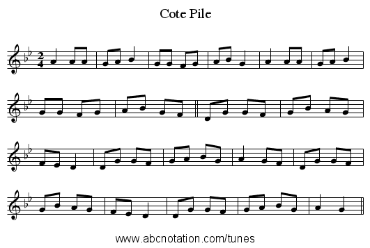 Cote Pile - staff notation