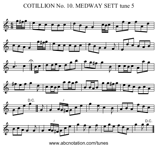 COTILLION No. 10. MEDWAY SETT tune 5 - staff notation