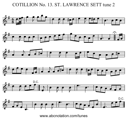 COTILLION No. 13. ST. LAWRENCE SETT tune 2 - staff notation