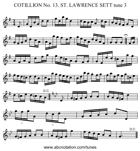 COTILLION No. 13. ST. LAWRENCE SETT tune 3 - staff notation