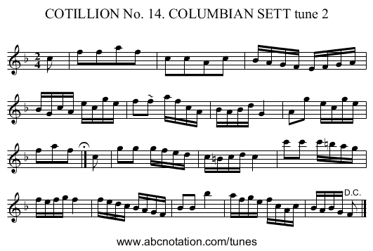 COTILLION No. 14. COLUMBIAN SETT tune 2 - staff notation