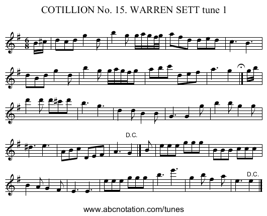 COTILLION No. 15. WARREN SETT tune 1 - staff notation