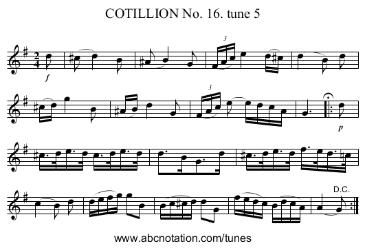 COTILLION No. 16. tune 5 - staff notation