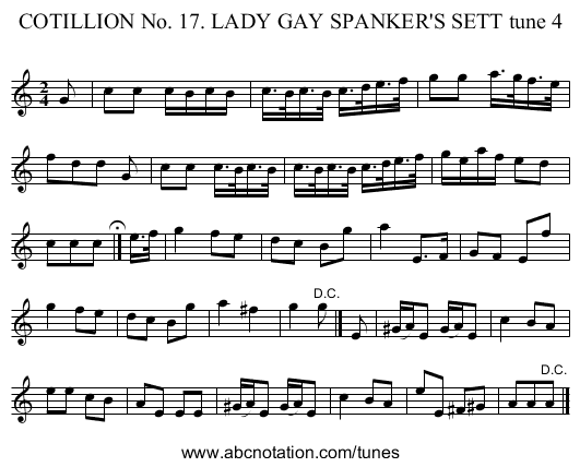 COTILLION No. 17. LADY GAY SPANKER'S SETT tune 4 - staff notation