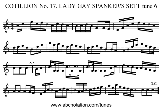 COTILLION No. 17. LADY GAY SPANKER'S SETT tune 6 - staff notation