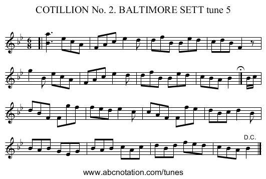 COTILLION No. 2. BALTIMORE SETT tune 5 - staff notation