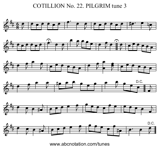 COTILLION No. 22. PILGRIM tune 3 - staff notation