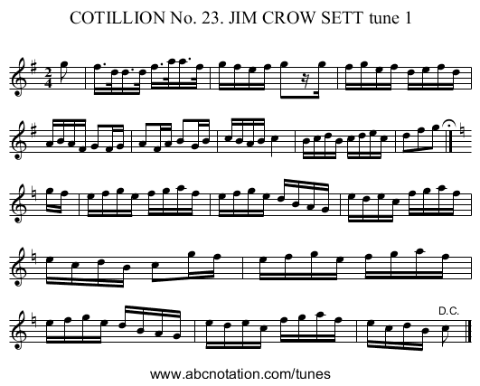 COTILLION No. 23. JIM CROW SETT tune 1 - staff notation