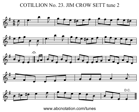 COTILLION No. 23. JIM CROW SETT tune 2 - staff notation