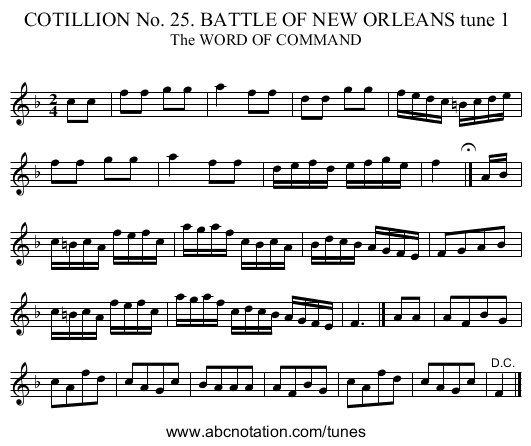 COTILLION No. 25. BATTLE OF NEW ORLEANS tune 1 - staff notation