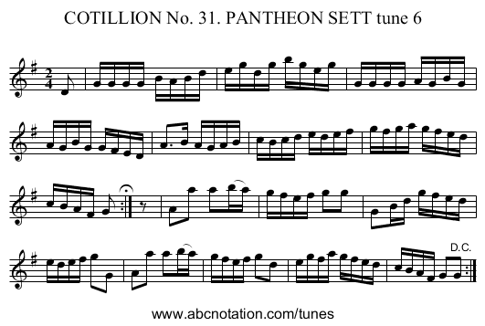 COTILLION No. 31. PANTHEON SETT tune 6 - staff notation