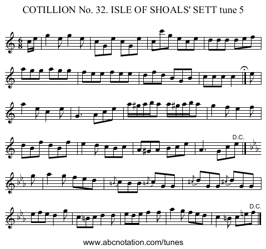 COTILLION No. 32. ISLE OF SHOALS' SETT tune 5 - staff notation